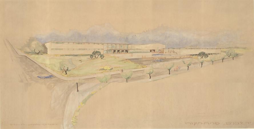 שרטוט חזית בית יד לבנים, 6 מאי 1952